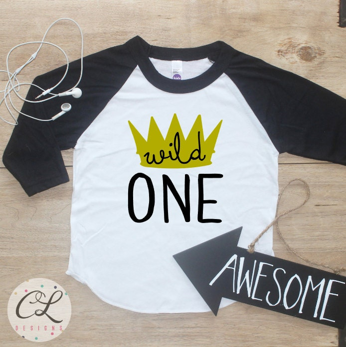 Birthday Boy Shirt Baby Clothes Crown King Wild One Thing 1 Year Old Outfit First TShirt 1st Cake Smash Raglan 021