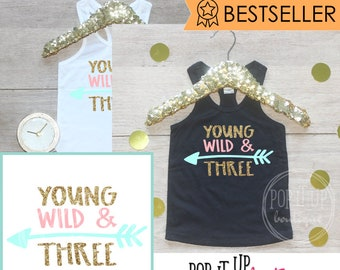 Birthday Girl Tank Top Shirt / Baby Girl Clothes Young Wild Three 3 Year Old Outfit Third Birthday Shirt 3rd Birthday Girl Outfit Tshirt 238
