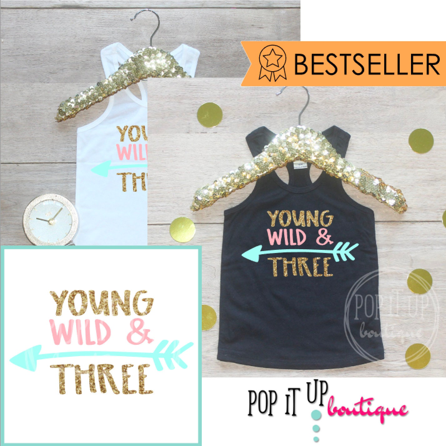 3 Year Old Birthday Girl Tank Top Shirt Baby Clothes Young Wild Three Third 3rd Outfit Tshirt 238