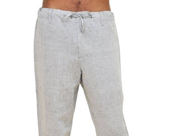 d702544069d7 Men linen drawstring pants for beach wedding
