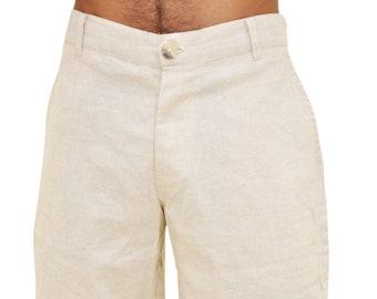eafb1b0d8ac Mens Beach Knee Length Linen Shorts