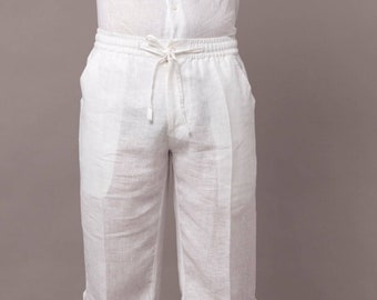 8b0ecf35166 Mens Beach Knee Length Drawstring Linen Shorts