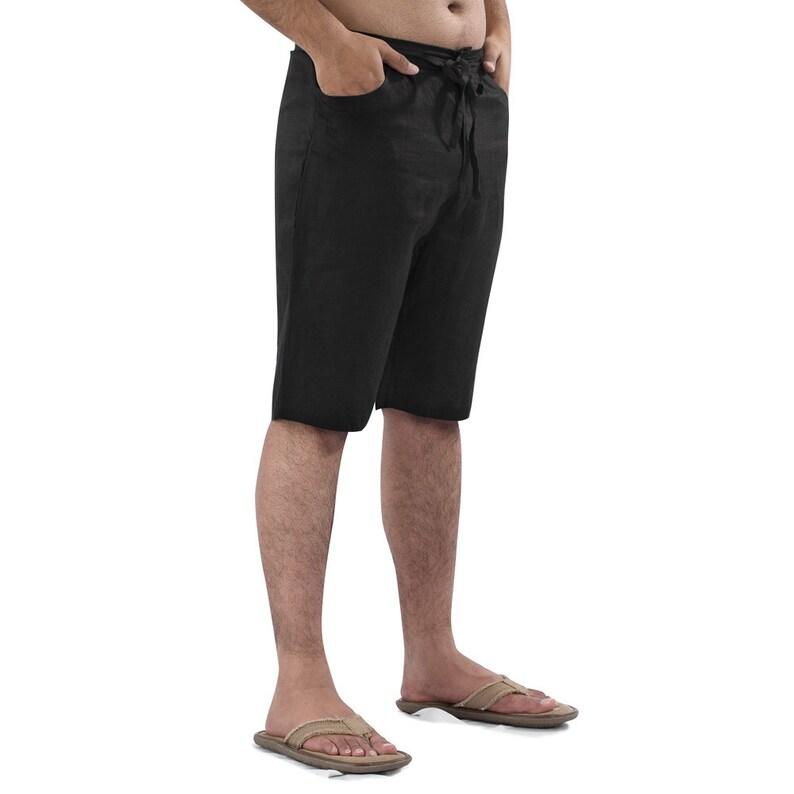 03edb411375 Mens Linen Beach wedding Boho Knee Length Shorts Plus size.