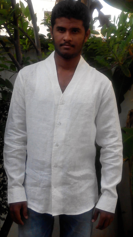 Mens High Neck Collar Short Shirt Kurta In Linen Etsy