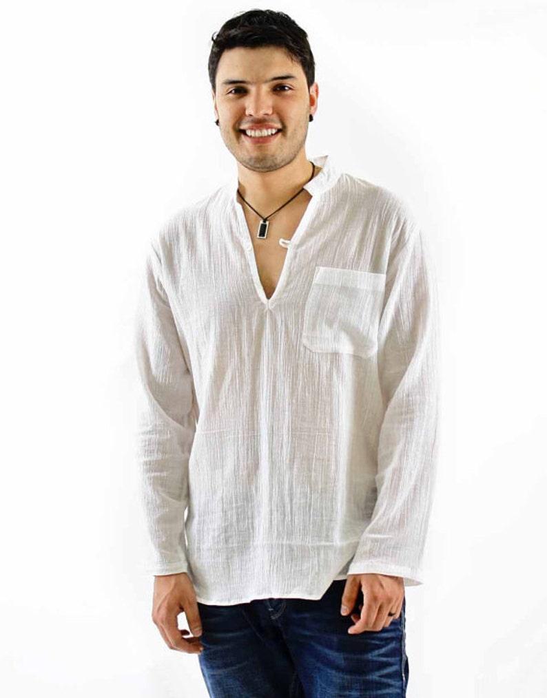 Mens Beach Gauze Boho Shirt Nehru Collar Long Sleeves Plus Etsy