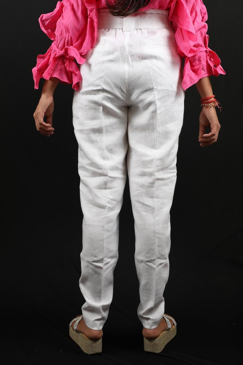21fbe823b0 Women's Linen Beach Fit Pants in Narrow leg Trouser Style | Etsy