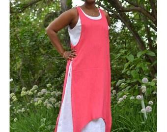 Womens Gauze  and Cotton Layered Summer Beach Boho Dress, Plus size.