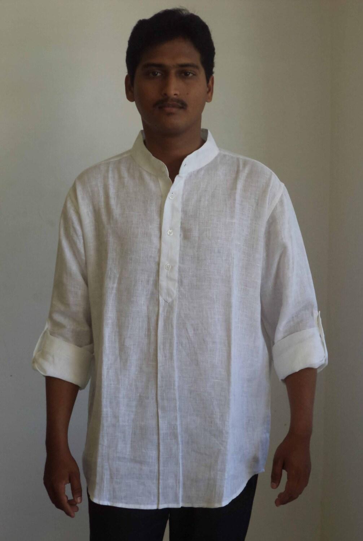 Mens Nehru Collar Short Shirt Kurta In Linen Etsy