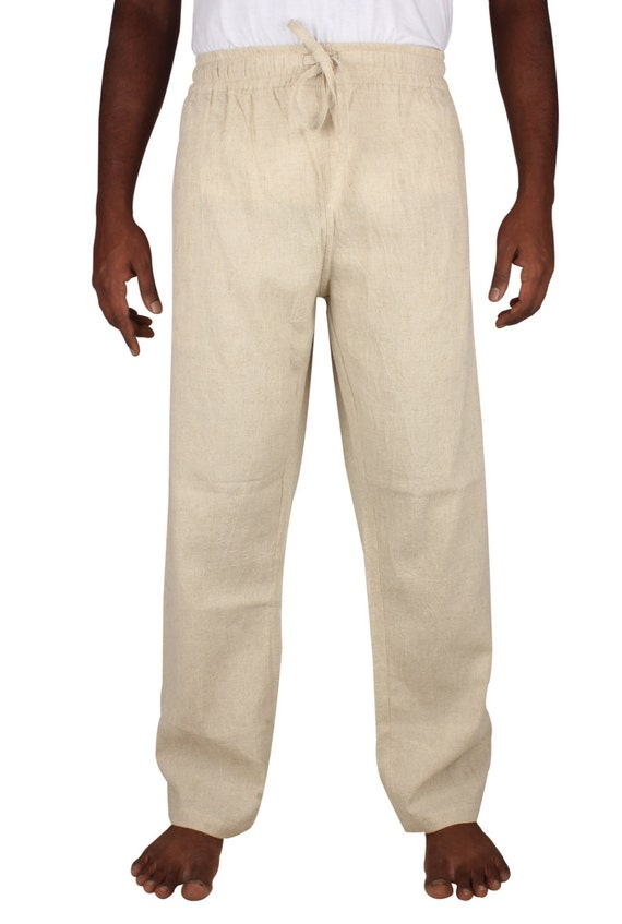 Mens Linen Drawstring pants In A Baggy Look without Zipper Regular and Plus Size. r0gPjLDo9