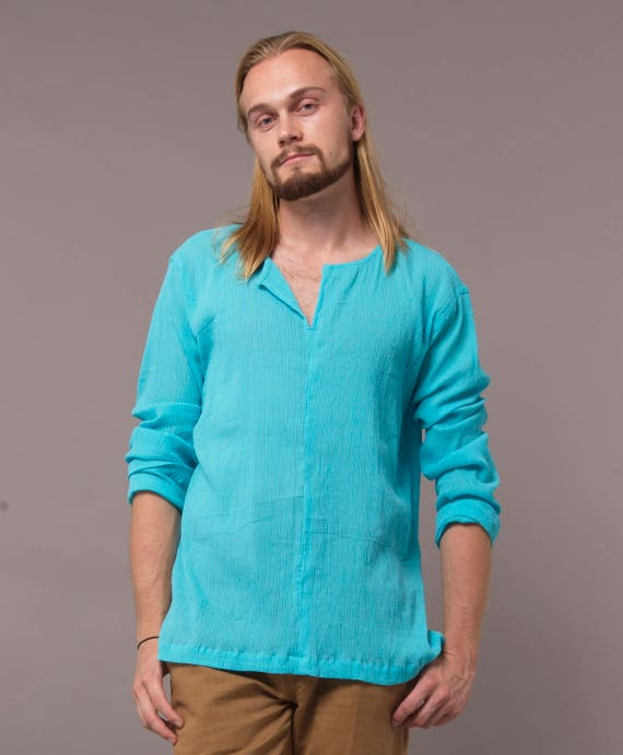 Mens v neck roll up gauze shirt s3EiI