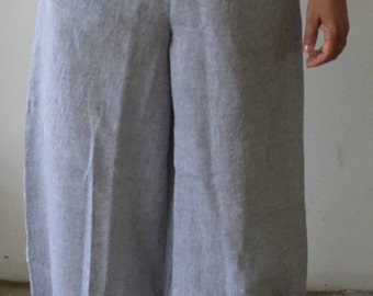 Womens Beach  Linen Harem pants with two side pockets.