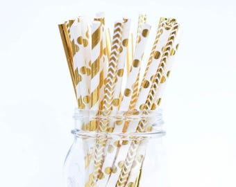Gold Straws Foil Gold Straws Assorted Gold Paper Straws Drinking Straws Gold Wedding Straws Fancy Straws Durable Straws in Gold Josephine
