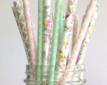 Paper Straws Vintage Wedding Straws Floral Straws English Garden Floral Paper Straws Vintage Baby Shower Vintage Birthday Party Ideas