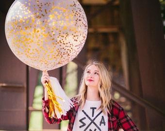 Gold Confetti Balloon Confetti Metallic Gold Glitter Balloon Jumbo Confetti Glitter Giant Balloon Gold metallic Square Confetti Balloons