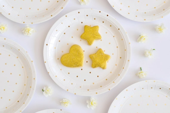 Gold Plates Polka Dot Paper Plates Dessert Size Small Gold Plates Disposable Paper Plates Gold Party Supplies Gold Party Decorations Plates from ... & Gold Plates Polka Dot Paper Plates Dessert Size Small Gold Plates ...