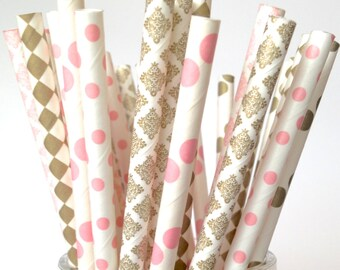 Blush Gold Straws Blush Pink and Gold Paper Straws Blush Gold Decorations Baby Shower, Bachelorette Wedding Decor Pink Gold Party Decor