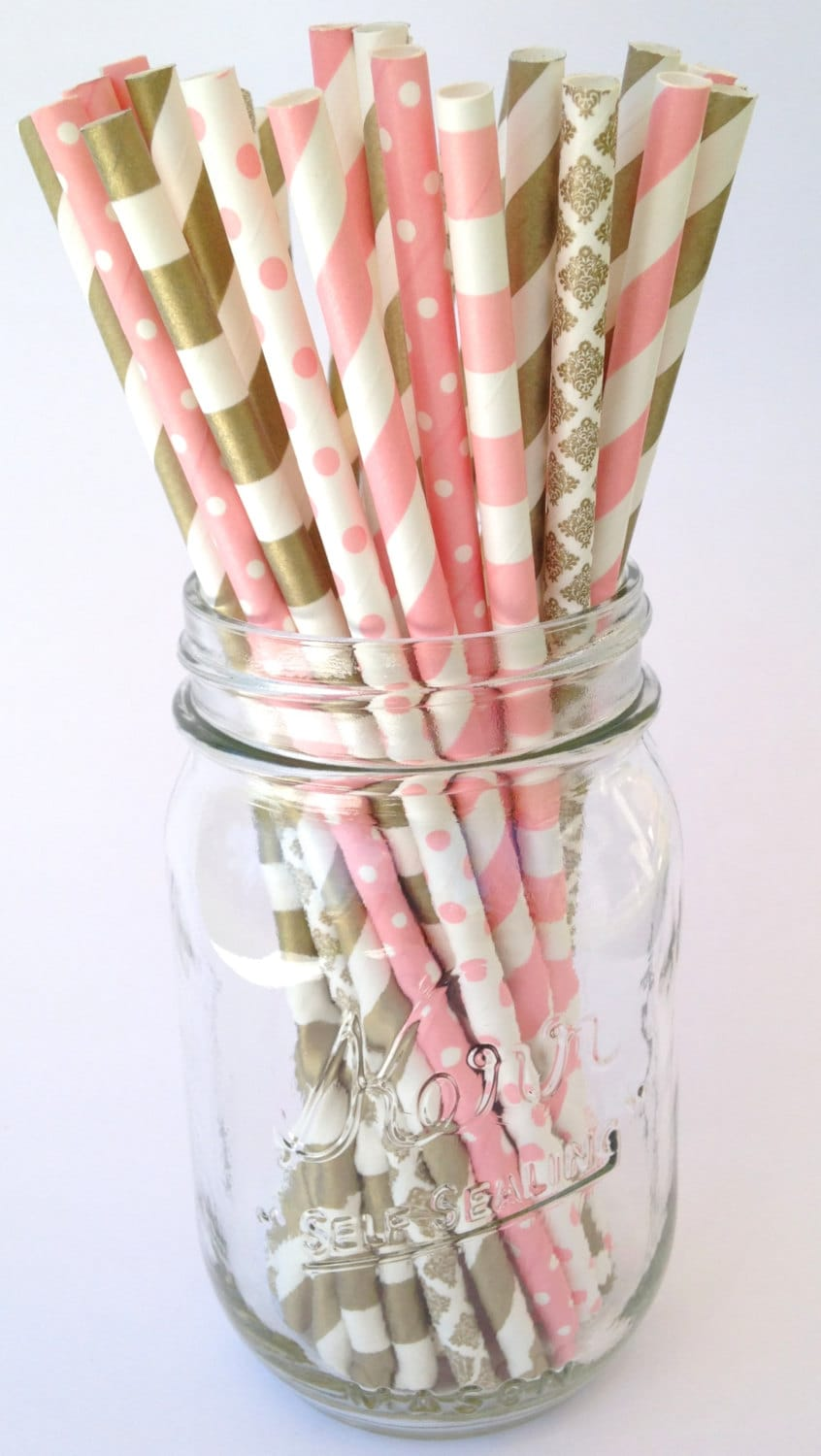 Gold Paper Straws Pink Paper Straws Party Decor Bridal Shower | Etsy
