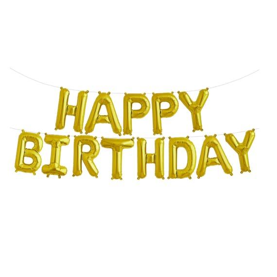 Happy Birthday Banner Gold Garland