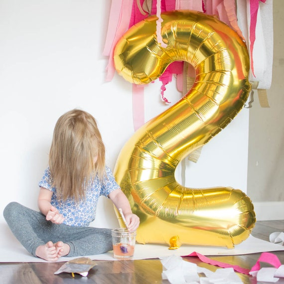 2 Balloon Number Two 40 Gold