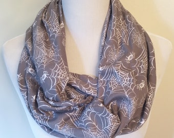 Wicked Witch w Broom Halloween Soft Light Loop Circle Infinity Scarf Wrap Gray
