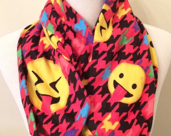 Clearance: Emoji Infinity Scarf, Smiley Face, Emoticon Scarf, Red Houndstooth
