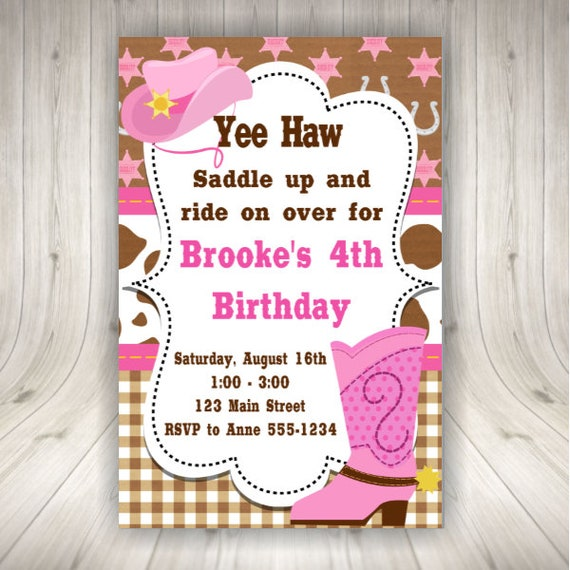 Western Cowgirl Party Invitations Etsy