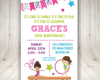 ON SALE Gymnastics Party Invitations