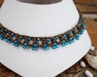cbef4830031f Gargantilla azul Collar boho chic Gargantilla turquesa Collar marrón Collar  cristal azul