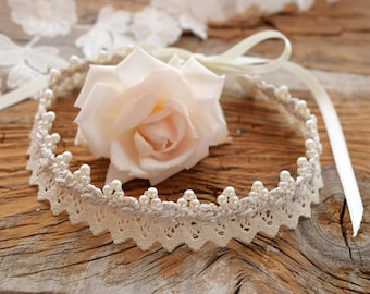Lace wedding ivory choker Victorian necklace Vintage wedding necklace Lace necklace pearl Bohemian necklace Jane Austen wedding Regency