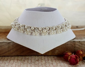 Wedding necklace bridal jewelry Ivory pearl necklace Victorian lace choker Elegant bridal necklace Formal bride jewelry Regency choker