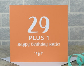 30th birthday card - milestone birthday, personalised 30th birthday card, 29 plus 1