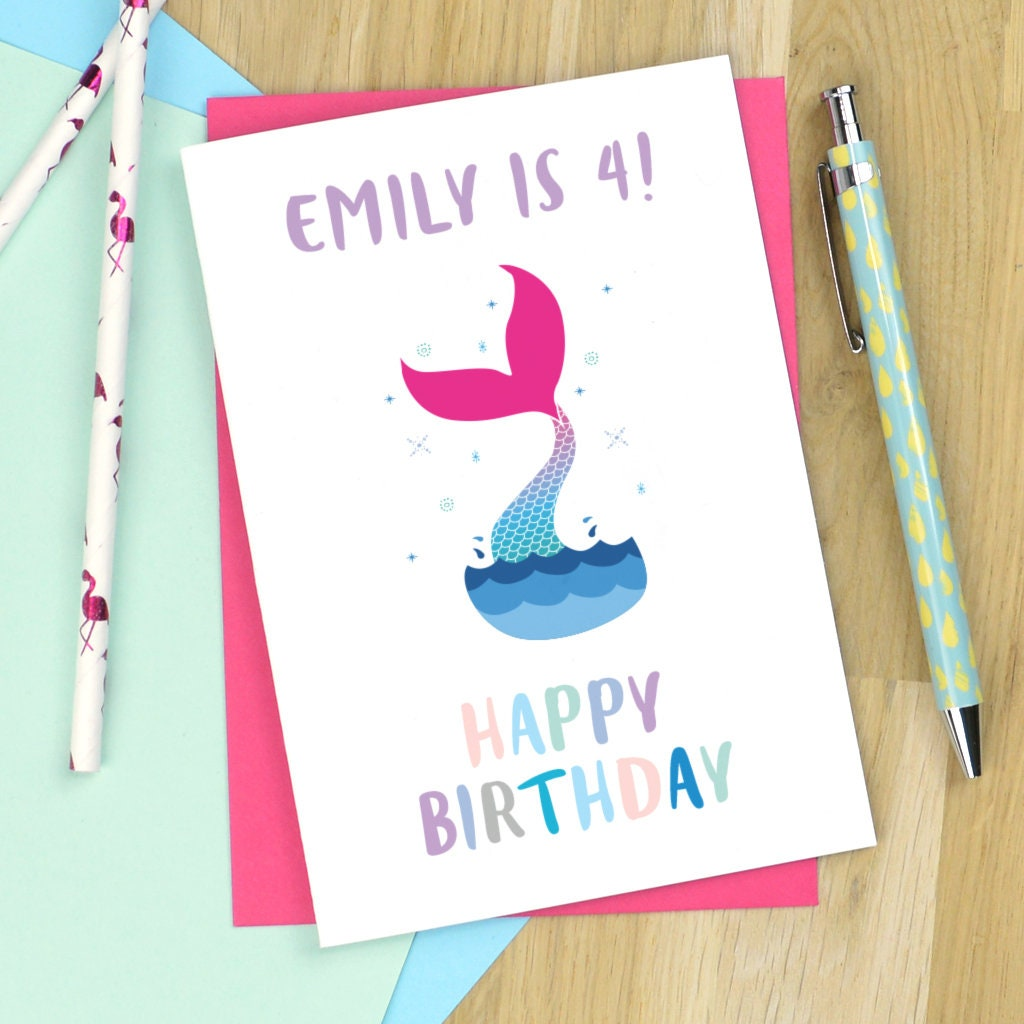 Mermaid Birthday Card Personalised Mermaid Card Age