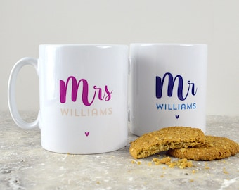 Mr And Mrs Personalised Mugs