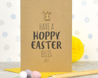 Easter card, recycled Easter card with wooden bunny detail, personalised Easter card