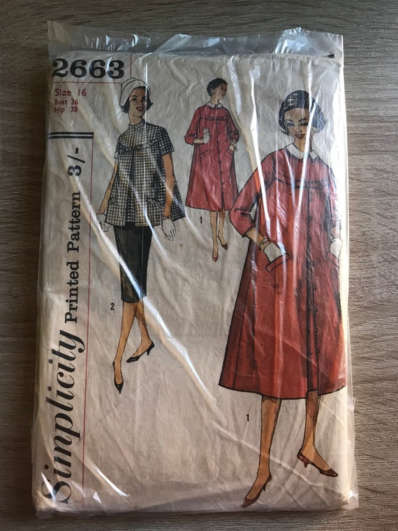 1958 Simplicity Schnittmuster 2663 Umstandskleid in Jr | Etsy