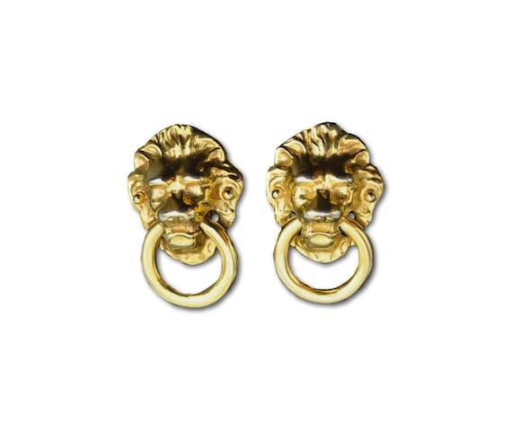 Kenneth Lane doorknocker lion earrings