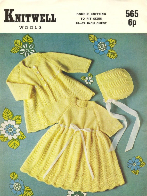 fa32b43b2166 Knitwell 565 baby matinee coat and bonnet set vintage knitting