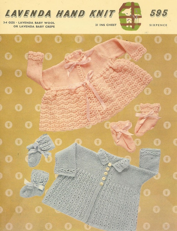 ccd24a451544 Lavenda 595 baby matinee coats vintage knitting pattern PDF