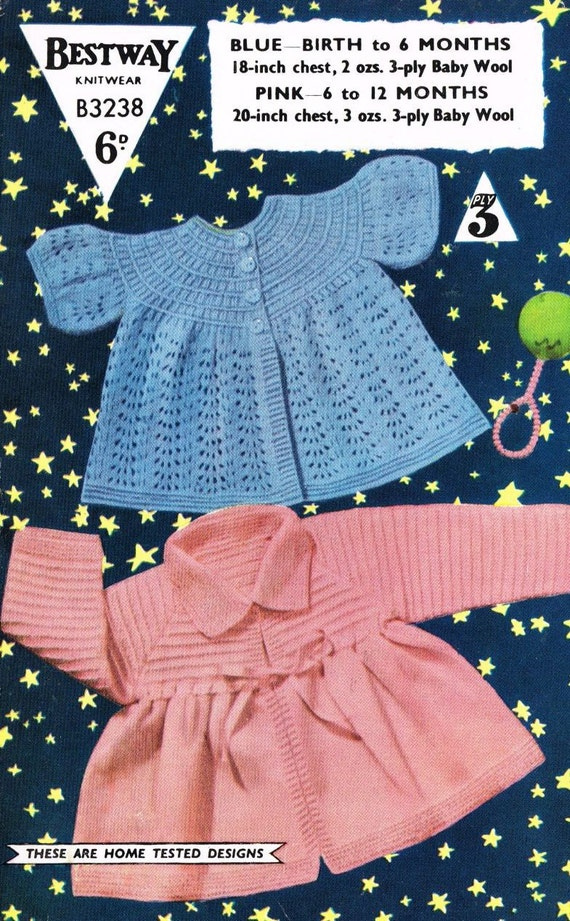 6fd760a0eb42 Bestway 3238 baby matinee coats vintage baby knitting pattern