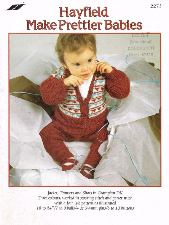 b101379cbc2c Items similar to Hayfield 2273 baby cardigan trousers pram suit ...