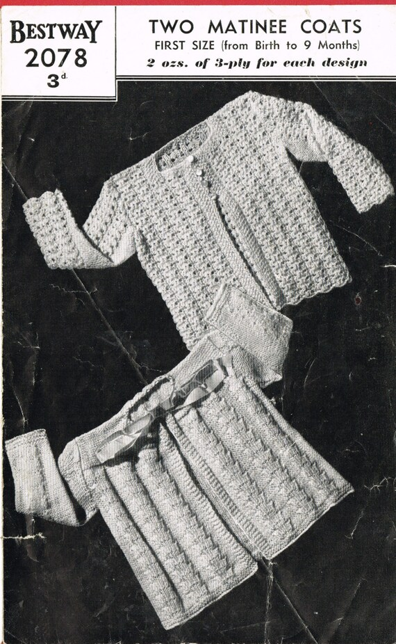 e0cbcae873d4 Bestway 2078 baby matinee coats vintage baby knitting pattern