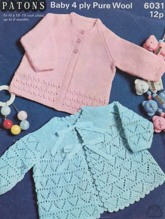 f21a7561a1a4 Patons 6031 two designs baby matinee coat vintage knitting