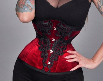 handmade from recycled material red velvet Corset vest