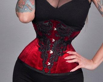 4588313bfcc New maroon bordeaux cherry red lace guipure velvet velour underbust steel  bones waist training real corset cincher