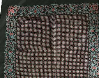 VINTAGE SILK SCARF, Italian Silk Scarf Black, Red & Blue, Vintage Italian Silk Scarf