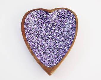 Hand Painted Polka Dots - Wood Bowl - Ring Holder Dish -Small Heart Bowl - Purple, Lavendar, White - Mid Century Modern Monkey Pod Valentine