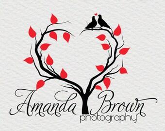 Premade Photography Logo Heart Logo and Watermark Design, Premade Photography Logo - bird logo love logo Business Logo - Watermark