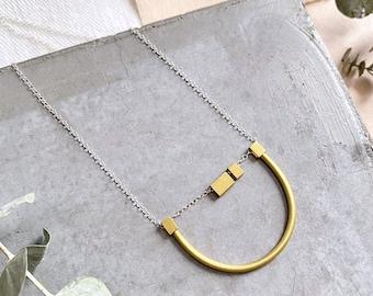 Matte Brass U Necklace
