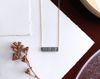 Charcoal + Brass Block Necklace