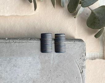 Small Charcoal Linear Earrings